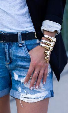 Denim and jeans / karen cox.  Noir Gold And Silver Dinosaur Bones Rib Cage Cuff Bracelet