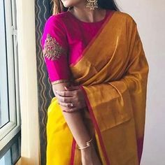 Image may contain: one or more people and people standing Saree Jacket Designs, Pattu Saree Blouse Designs, Blouse Designs Silk, Designer Blouse Patterns, Bridal Blouse Designs, Latest Blouse Designs, Fashion Models, Design Page, Stylish Blouse Design
