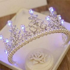 2018 European Pearl Tiara Light Rhinestone Royal Queen Crown for Women Hair Ornaments Bridal Wedding Large LED Crowns Birthdtay _ {categoryName} - AliExpress Mobile Version - Cute Jewelry, Hair Jewelry, Bridal Jewelry, Quinceanera Tiaras, Crown For Women, Queen Crown, Crystal Crown, Bridal Crown, Wedding Veils