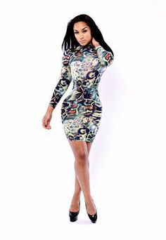 e3ab5c986f5 Cheap Fashion O Neck Long Sleeves Digital Positioning Print Polyester  Sheath Mini Dress. Women Clothing Sale
