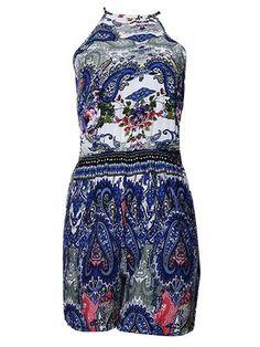 Women Sleeveless Floral Printed High Waist Backless Jumpsuits