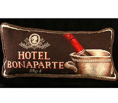 "Hotel Bonaparte HKH Needlepoint Pillow      Chocolate brown with Soft beige faux suede fabric on back with zipper for ease of cleaning. Emily Adams design. Available with foam inset or feather down inset. Size: 9"" X 19"". $49.00"