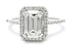 200ctw EMERALD cut ANTIQUE style diamond by ninaellejewels on Etsy. , via Etsy.