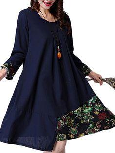 Ethnic Linen Patchwork A-Line Long Sleeve Dress Shopping Online - NewChic