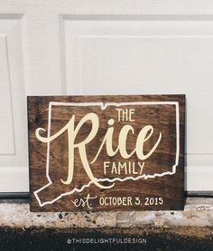 Custom Wood Family Established Sign | Connecticut | CT | Wedding Gift | Home Decor | Signage | Hand Lettering | Typography | Modern Calligraphy  || This Delightful Design by Katie Clark