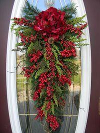 "Christmas Teardrop Swag Door Decor..""Seasons Greetings"". via Etsy."