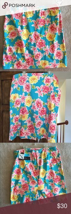 Jones New York Skirt Size 14 NWT NWT Floral patterned skirt.  Pattern Biscayne Bay Turq.  Cotton/spandex material.  Size 14.  See last photo.. Slight place near waist line in material from skirt hanger. Jones New York Skirts