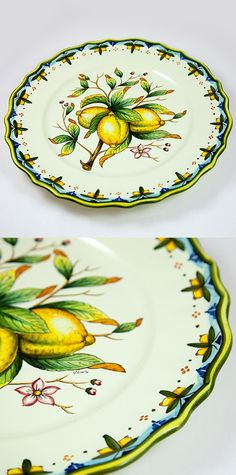 """Serving Platter in Lemon Pattern on a White Background 14"""" x 14"""". #wedding #gift #yellow    $124.99 Follow this link to see the discounted price and all the available products in this pattern: http://www.pietrafittaimports.com/ceramics.html?design_pattern=282=1"""