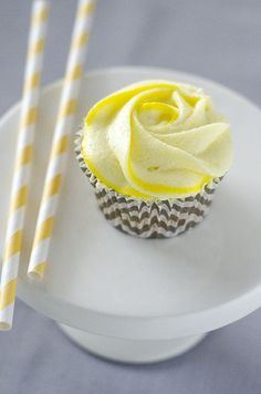 lemon cupcakes with flower frosting