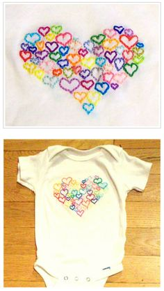 "Jilliann Hollmann has published a free hand embroidery pattern called ""Onesie with Heart"".  Super cute!  What a fun baby shower gift."