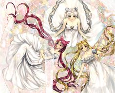 Queen Serenity Princess Serenity/Neo Queen/Usagi Tsukino/Sailor Moon and Serena Small Lady Serenity/Rini/Sailor Mini Moon Sailor Moons, Sailor Moon Manga, Sailor Moon Fan Art, Sailor Pluto, Neo Queen Serenity, Princess Serenity, Cristal Sailor Moon, Princesa Serena, Sailor Moon Kristall