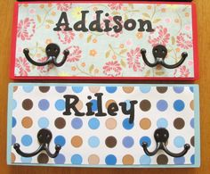 cute personalized coat/backpack hooks