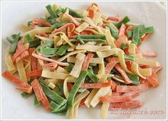 ıspanaklı, salçalı makarna Ravioli, Gnocchi, Pasta Salad, Green Beans, Vegetables, Ethnic Recipes, Food, Handmade, Crab Pasta Salad