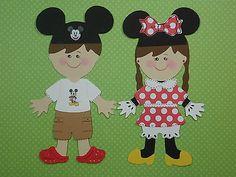 Mickey & Minnie Kids Paper Dolls Set CRICUT Die Cut/PAPER PIECING/EMBELLISHMENT