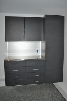 Powder coated cabinets.