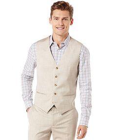 Perry Ellis Big and Tall Textured Linen-Blend Vest