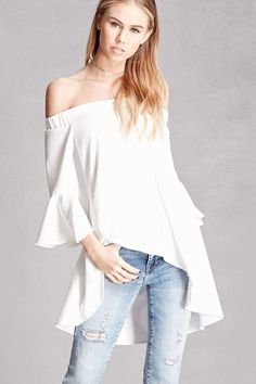 A woven top by Pixie and Diamond™ featuring an off-the-shoulder neckline, trumpet sleeves, and a flared high-low hem. Summer School Outfits, Casual School Outfits, College Outfits, Outfits For Teens, Cute Outfits, High Neck Blouse, Girls Leggings, Dress To Impress, Latest Trends