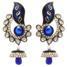Shop Blue Enamel Work With Austrian Diamonds Earrings 42386 online from huge collection of indian ethnic jewellery at m. Wedding Chaniya Choli, Diamond Earrings, Drop Earrings, Ethnic Jewelry, Diamonds, Enamel, Blue, Accessories, Isomalt