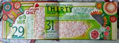 """The """"birth"""" of a Mixed Media Art Journal Daily page by Janet Joehlin using StencilGirl stencils."""