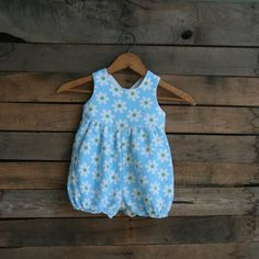 Vintage Little Girls Blue & White Floral Romper by by vintapod