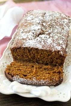 Soft, moist, molasses quick bread is perfectly seasoned with ginger and nutmeg. Gingerbread Loaf gives that classic holiday flavor that you love! Dessert Bread, Dessert Recipes, Desserts, Cookie Recipes, Breakfast Recipes, Holiday Baking, Christmas Baking, Christmas Bread, Italian Christmas