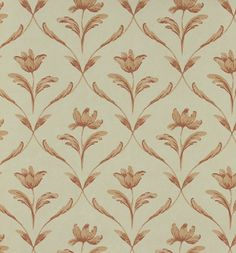 Sophia Wallpaper A beautiful wallpaper inspired by eighteenth century Swedish design, of single flowers framed by a leaf trellis in petal/light terracotta on a warm beige background