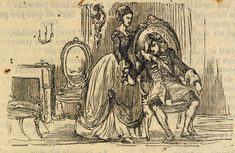 Xilografía en cabecera de una mujer de pie junto a un hombre sentado en una silla que tiene una mano sobre su rostro, ambos visten ropa elegante.