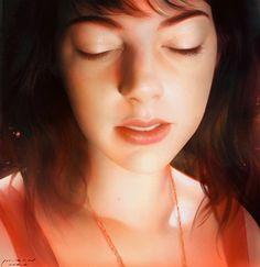 Lin Ran, 2010 {figurative realism beautiful female head profile woman face portrait #hyperreal digital painting #loveart} #Linran