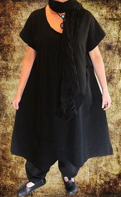 BAGGY Lagenlook Long TUNIKA Top Shirt 46 48 50 Leinen SCHWARZ Kaftan Kleid Kurta in Kleidung & Accessoires, Damenmode, Kleider | eBay