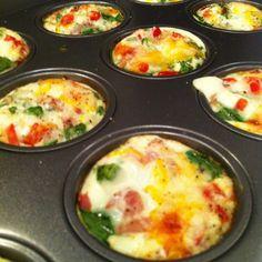 Egg Muffins Recipe Breakfast and Brunch with eggs, veggies, sea salt, garlic powder, pepper, feta cheese, olive oil