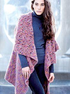 Free Angora Merino Reversible Cardi Wrap from  by KFI Luxury Collection at KnittingFever.com