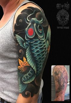 Cover-up tattoo on shoulder by Lina Shulyar Tribal Tattoo Cover Up, Cover Up Tattoos For Men, Black Tattoo Cover Up, Tribal Arm Tattoos, Cover Tattoo, Body Art Tattoos, Tattoos For Guys, Tribal Cover Up, Koi Tattoo Sleeve