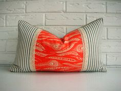 Orange Feather Print Boho Chic Throw Pillow Cover Burlap