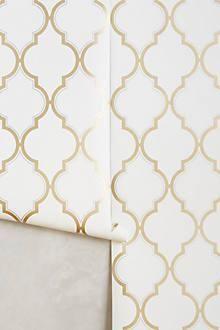 White and Gold Trellis Wallpaper