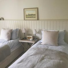 beadboard behind beds Home Bedroom, Master Bedroom, Bedrooms, Bedroom Colors, Cottage Style, New Homes, Pillows, Twin Beds, Basements
