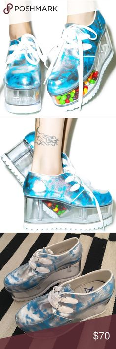 "YRU Qozmo Cloud Platforms Brand new, never worn. 4"" platform, cloud print lace up sneakers with transparent bottom that you can fill with all sorts of stuff!    Feel free to ask any questions, always welcome to any offers, and bundle to save! 💗!    Dolls Kill YRU TUK Nasty Gal YRU Shoes Platforms"