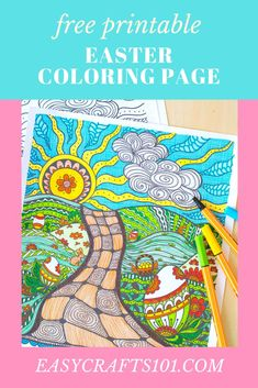 This printable Easter coloring page is gorgeous and fun for kids and adults. #freeprintable #printable #printables #easter #easterprintable #coloringpage #printablecoloringpages