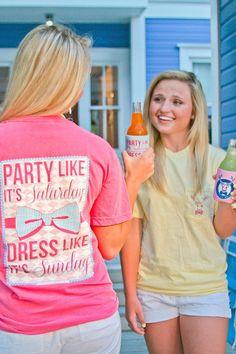 "Party Like its Saturday, Dress like its Sunday"" short sleeve pocket tee!"