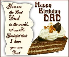 Send Beautiful Happy Birthday Father Wishes, Messages, Quotes, Cards and Greetings. Happy birthday Wishes for father, dad or Papa from Son or daughter Birthday Cards Images, Happy Birthday Wishes Images, Birthday Wishes Messages, Happy Birthday Dad, Dad Birthday Card, Dad Birthday Quotes, 20 Birthday, Birthday Recipes, Birthday Design
