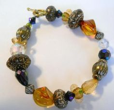 Beaded Stretch Bracelet - Fall Colors #Fall #Autumn #Jewelry #Zibbet #Handmade
