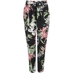 Wallis Oriental Floral Print Trouser found on Polyvore featuring pants, bottoms, trousers, jeans, black, black evening pants, floral trousers, floral pants, evening pants and relaxed fit pants