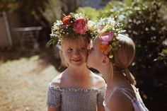 Elsie and Myla VonBlanckensee photo by Tessa Cheetham #flowers #flowercrowns #colours #photography #photoshoot #photos #portrait #afternoon #outdoors #nature #teddies #bunnies