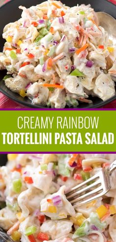 Creamy Rainbow Tortellini Pasta Salad Creamy tortellini salad, loaded with colorful vegetables and tossed in a deliciously sweet and tangy dressing! Easy Salad Recipes, Easy Dinner Recipes, Pasta Recipes, Cooking Recipes, Popcorn Recipes, Noodle Recipes, Side Dishes Easy, Side Dish Recipes, Pasta Salad With Tortellini