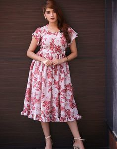 Zara Oat Muslin Midi Dress from the house of The Western Dresses, Indian Dresses, Cotton Frocks, Baby Frocks Designs, Pink Midi Dress, Frock Design, Check Dress, Anarkali Dress, Asymmetrical Dress