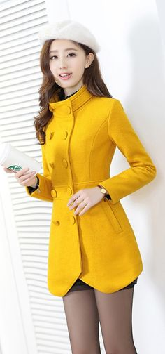 Stylish Winter Cashmere Coat Winter Cashmere Coat - Color: Yellow, Blue, Red, CamelMaterial: 30 wool, 70 polyester Size Shoulder Bust Waist Length Sleeve Length M 37 80 72 77 57 Fashion Moda, Kpop Fashion, Asian Fashion, Hijab Fashion, Fashion Outfits, Coats For Women, Jackets For Women, Stylish Jackets, Cashmere Coat