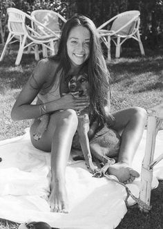 Olivia Hussey (played Juliet Capulet in the '68 movie) with her dog in the early 70s.