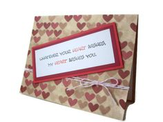 handmade hearts card i miss you card i love you by JDooreCreations, $2.85