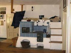 Old Kitchen, Kitchen Decor, Stair Shelves, Yurt Living, Classic Fireplace, Japanese Interior Design, Built In Ovens, Rocket Stoves, Natural Building