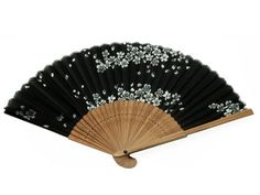 Japanese Design Silk Handheld Folding Fan, Black with White Petals HF-201 Item# 6761    - Click image twice for more info - See a larger selection of folding fan at http://www.zbestsellers.com/level.php?node=146&title=asian-folding-fans - woman, accessories, folding fan, woman fashion. asian fan
