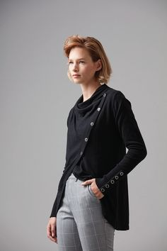Designed in New Zealand.  Naturally breathable, soft, and beautifully refined our lightweight wrap cardie has been made in a unique blend of Cotton and Bamboo with the added luxury of Silk. Wear it worn open to create a slim ruffled silhouette or draped and buttoned-up for a cosy look on cooler days.  #Knitwear #Womens #Fashion #Cardigan #WildSouth #NewZealand